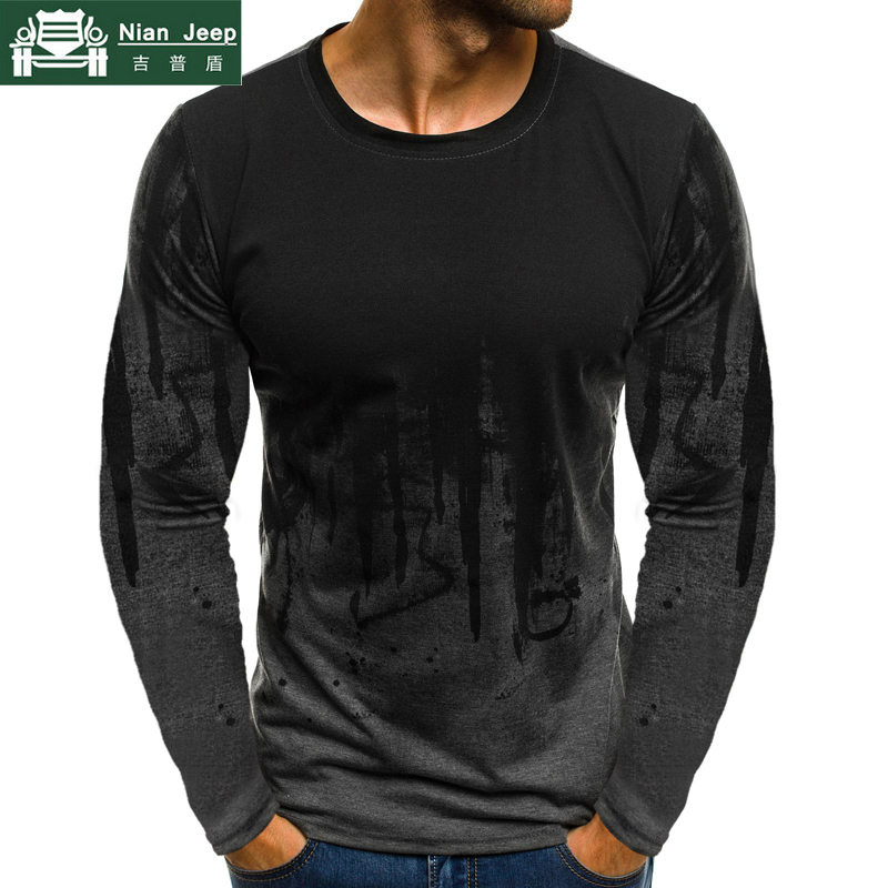 Plus Size 2019 Summer Hip Sop T-Shirt Men Cotton Long Sleeve Streetwear Breathable Tee Shirt Homme Fashion Printed Size S-5XL