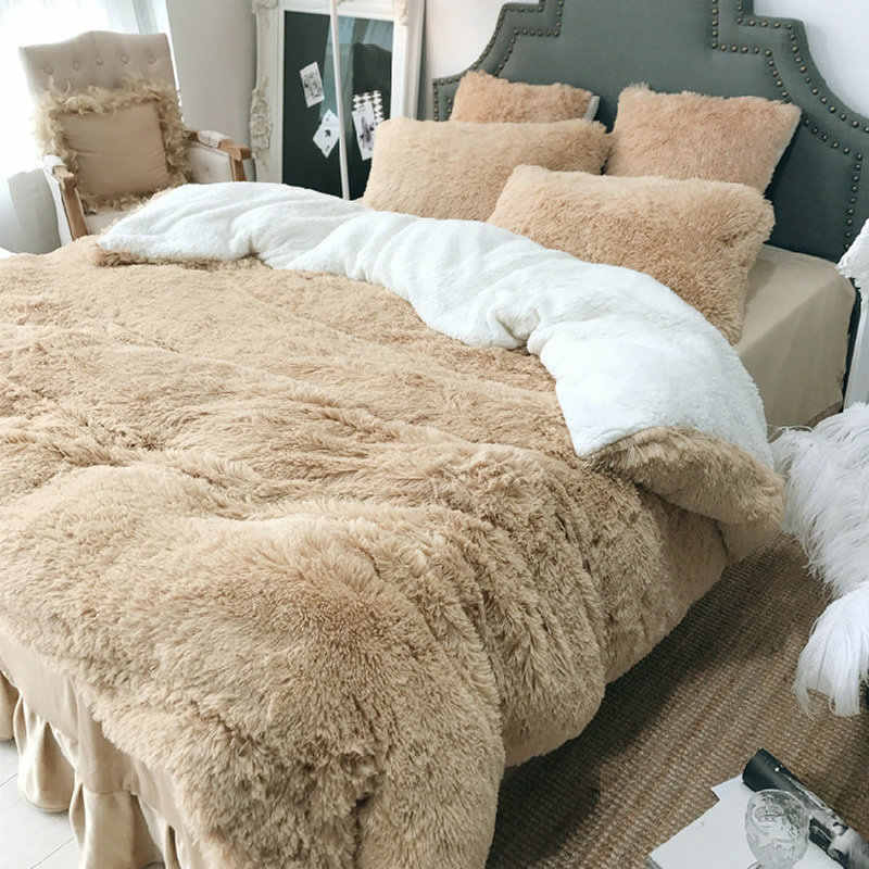4 Pcs Princess Velvet Bedding Set Luxury Bed Linen Warm Thick Winter Use Bed Skirt Duvet Cover Pillowcase Twin Queen King