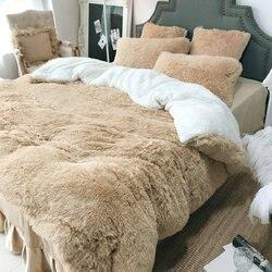 4 قطعة الأميرة المخملية طقم سرير سرير فاخر الكتان الدافئة سميكة الشتاء استخدام تنورة نوم حاف الغطاء المخدة التوأم الملكة الملك