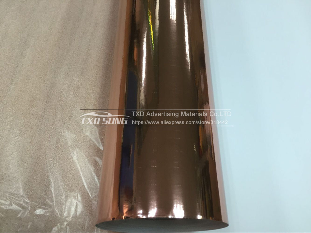 Image 2 - Good quality 1.52x20m/Roll Waterproof UV Protected rose gold Mirror chrome Vinyl Wrap Sheet Film Car Sticker Decal Air bubbules-in Car Stickers from Automobiles & Motorcycles