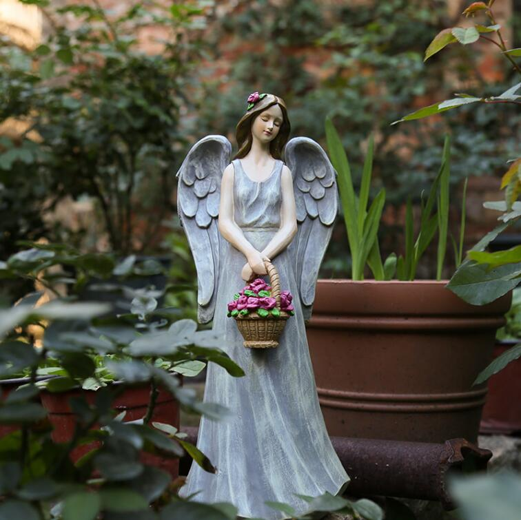 Romantic Garden Decoration House Outdoor American Country Gardening Resin Sculpture Living Room Angel Flower Fairy Statue 05499