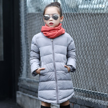 Newest 2016 Children Winter Wear Jacket Baby Girl Down Coat Long Style Self-Cultivation Kids Parkas Student Outdoor Outerwear