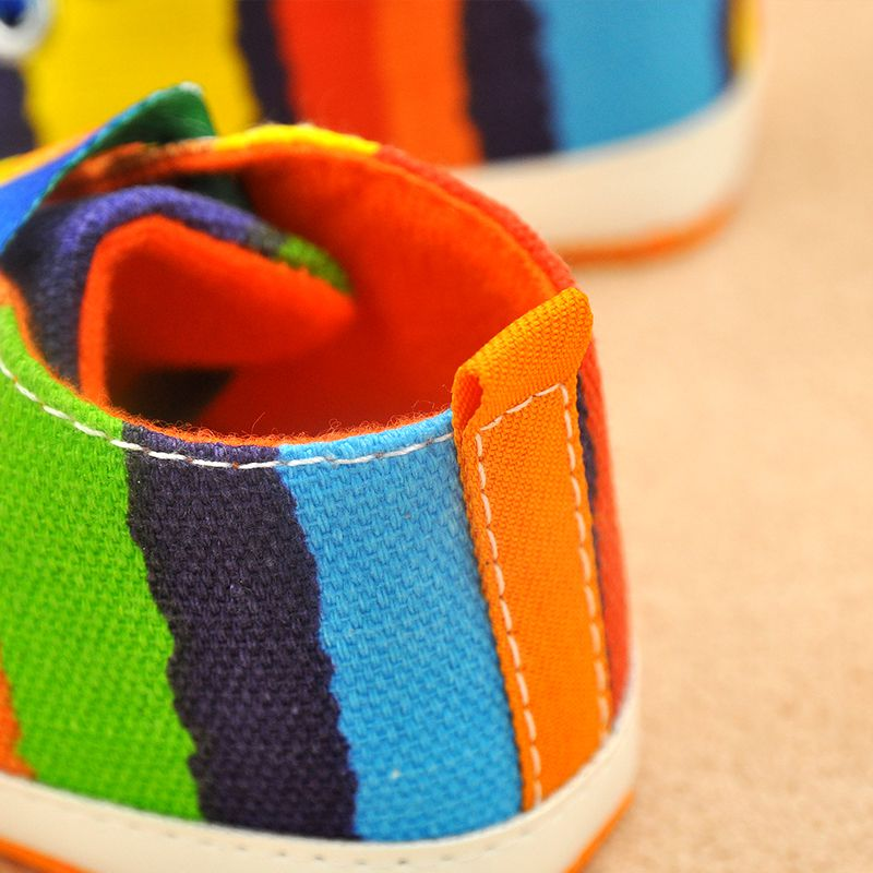 New-Baby-Boy-Girl-Soft-Sole-Shoes-Cotton-Carvan-Sneakers-Laces-Crib-Shoes-0-18M-Rainbow-Color-5