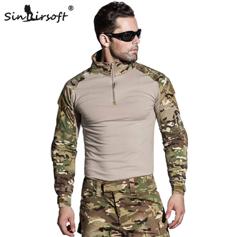Sinairsoft Camouflage Tactical Military Uniform Multicam Army Combat Shirt Tactical Pants with Knee Pads Hunting Clothes