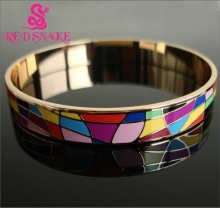 RED SNAKE Brand Product Newest Hot Selling Width Rose Gold Plated Byzantinism Colorful Copper Enamel Jewelry Bangle/Bracelets