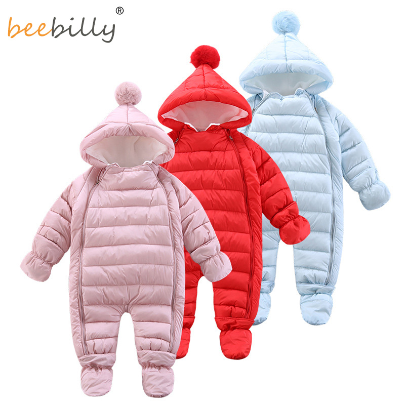 2018 NEW Baby   Rompers   Winter Thick Warm Baby girl boy Clothing Solid Long Sleeve Hooded Jumpsuit Kids Newborn Outwear for 6-18M