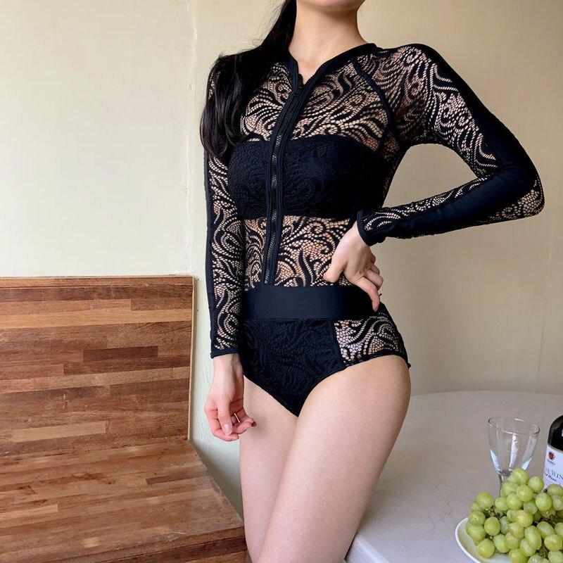 Swimsuit One Piece With Cups Woman Bikini Swim Suit Women Swimwear Lace Hollow Long Sleeve Size Zipper Solid Polyester Sierra
