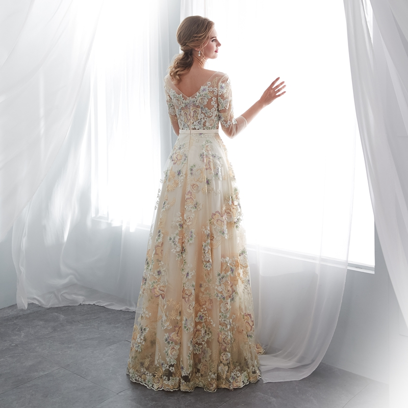 2019 New Lace Prom Dresses Three Quarter Evening Gown Champagne Scoop A Line Bridal Elegant Simple Dubai Arabic Vestido De in Prom Dresses from Weddings Events