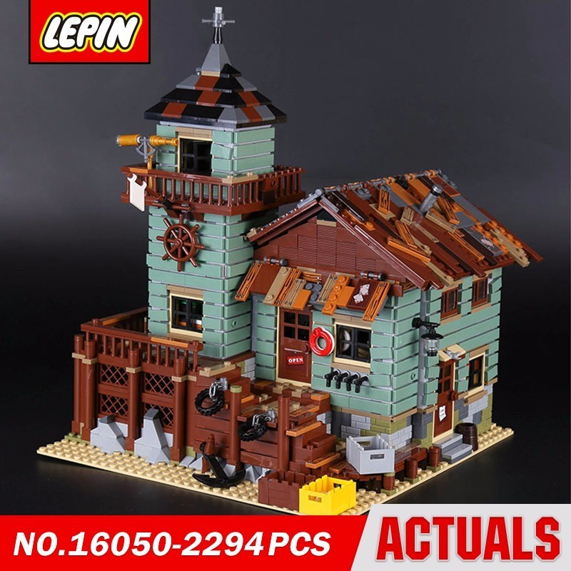 Lepin 16050 Fisherman The Old Finishing Store Movie Series Model Building Block Brick Kits Compatible Gift lepin 16009 queen anne s revenge pirates of the caribbean 4195 movie series model building block brick kits compatible gift