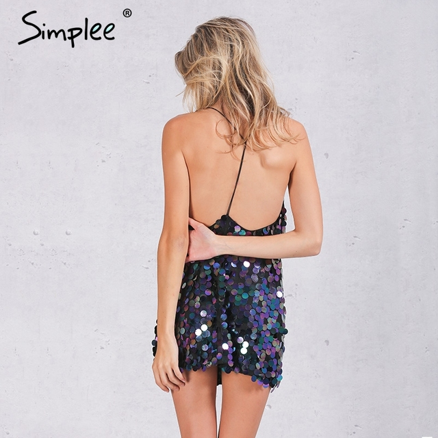 Simplee Deep V sequin sundress Backless luxury slip dress sexy party short dress women 2016 autumn winter dress vestido Camisole