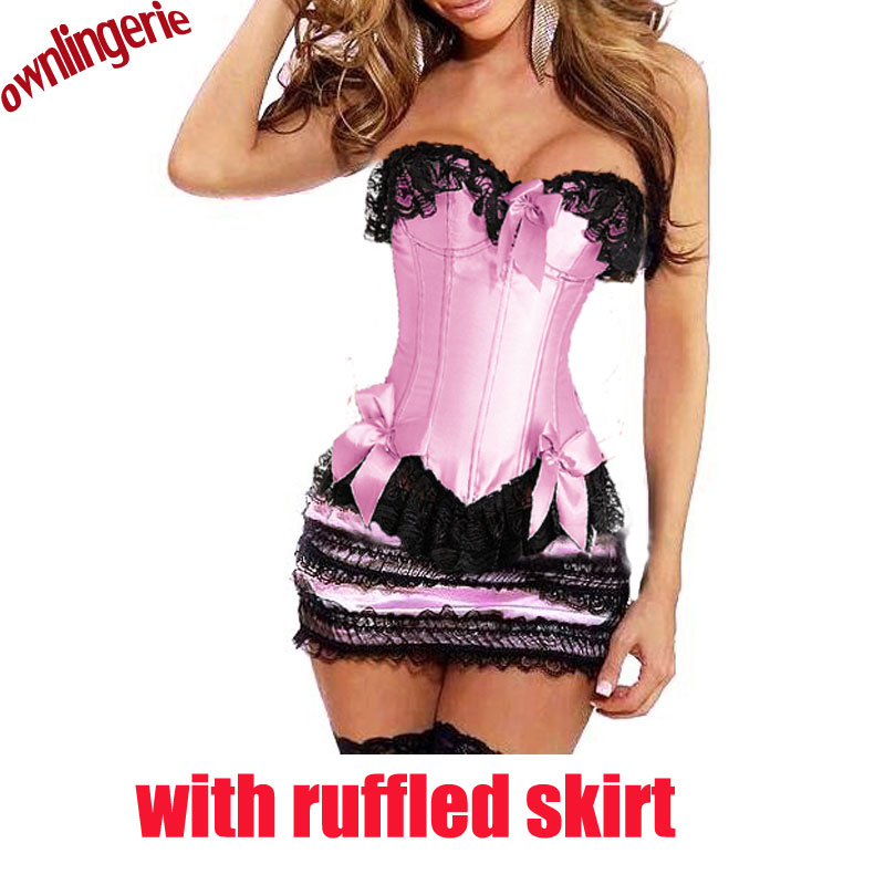 women corset matching ruffled skirt bustier dress,pink and white waist corset and bustier cake skirt lace up back,bow knot front