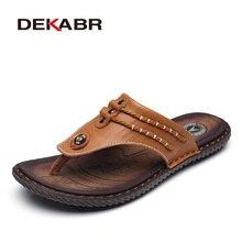 Homens chinelos de praia de couro de vaca dekabr moda flip flops com sola macia na moda respirável fácil de combinar sapatos de verão