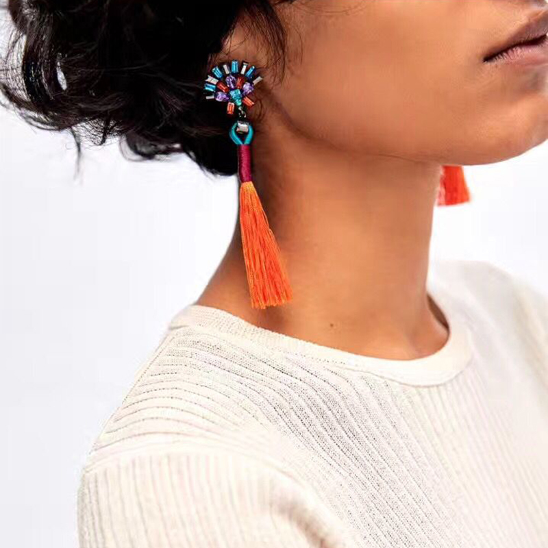 Vedawas Hot Sale New Trend multicolored Tassel Pendant Earrings Fashion Crystal Beads Flower Statement Earrings for Women 1618