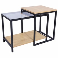 Lifewit 2 Piece Modern Nesting Side Accent Table Set End Table Set Combination Extension Slide Modern