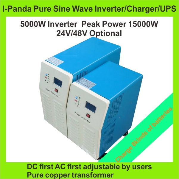 CE RoHS 5000W Pure Sine Wave Inverter With Battery Charge And UPS,DC 24V/48V AC100V/110V/220V/230V/240V grid tie inverter 5000w dc 48v to ac 110v charger modified sine wave iverter ied digitai dispiay ce rohs china 5000 481g c ups