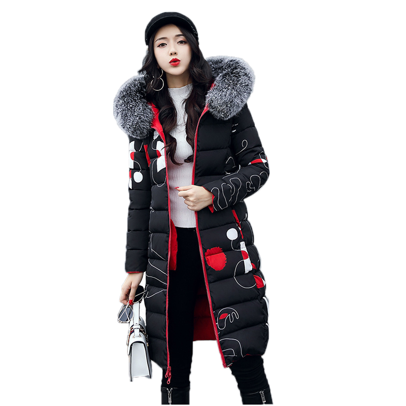Brand Hooded Down Cotton Coat 2017 Winter Fashion Two Sides Wear Warm Long Female Parkas Faux Fur Collar Outwear jacket Coat qazxsw 2017 new winter cotton coat women slim hooded jacket two sides wear long parkas fur collar winter padded abrigos hb339