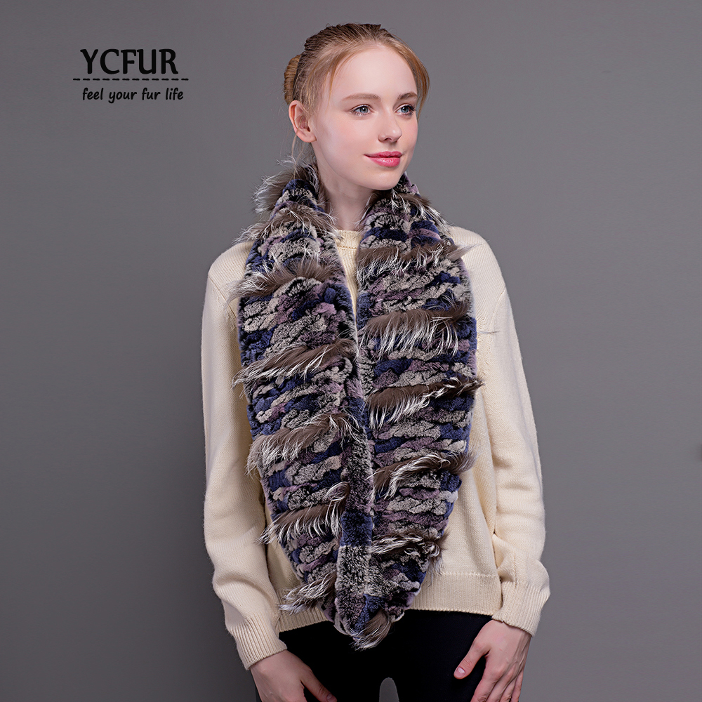 YCFUR Women   Scarves     Wraps   Winter Brand Design Knit Real Rex Rabbit Fur Ring   Scarf   Female Winter Neck Warmer Long   Scarf   For Lady