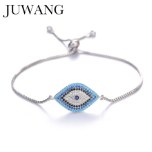 цены Turkish New Design gold/sliver blue evil eye Chain bracelet Pave CZ Blue Eye Gold Bracelet Adjustable Female Party Jewelry Gift