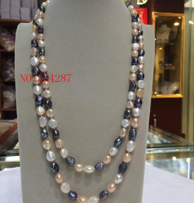 """Real 8-9mm purple baroque cultured freshwater pearl necklace 20/"""""""
