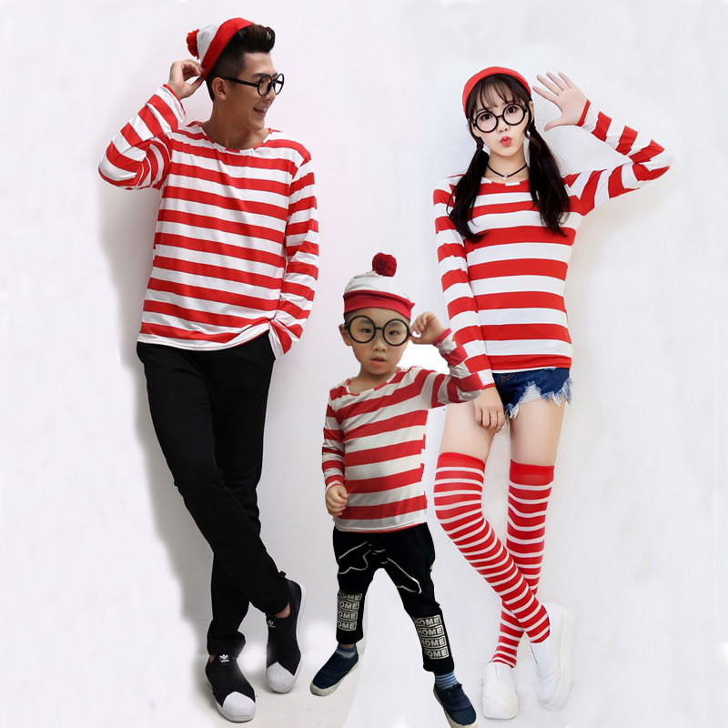 Parent-Child Cartoon Where is Wally Waldo Cosplay Costume Red Stripe Shirt +Hat +Glasses Couple wear
