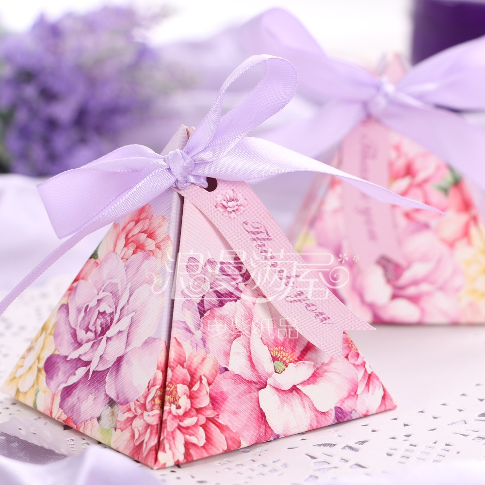 50pcs Triangular romantic beautiful flower Purple candy box wedding ...