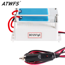 Atwfs высокое качество портативный генератор озона автомобиля керамическая плита dc12v 7 г очиститель воздуха воздушном стерилизаторе автомобиля озона