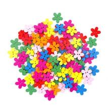 100 шт. 14x15 мм разноцветный милый цветок натуральные украшения Швейные Скрапбукинг деревянными пуговицами MZ0006X