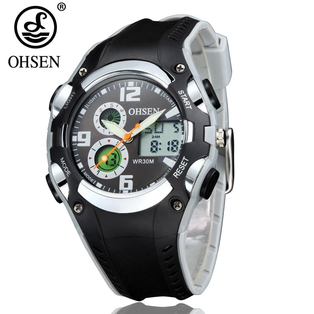 OHSEN Fashion Brand Digital Quartz Water Resistant Children Boys Wristwatch Soft Silicone Band Kids LCD Kids Sport Watch Relogio