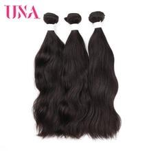 UNA Brazilian Hair Weaves 3 Bundles Deal Natural Hair Weaves #Natural Color Human Hair Wefts Non Remy Hair Extension 8-26 Inches цена 2017