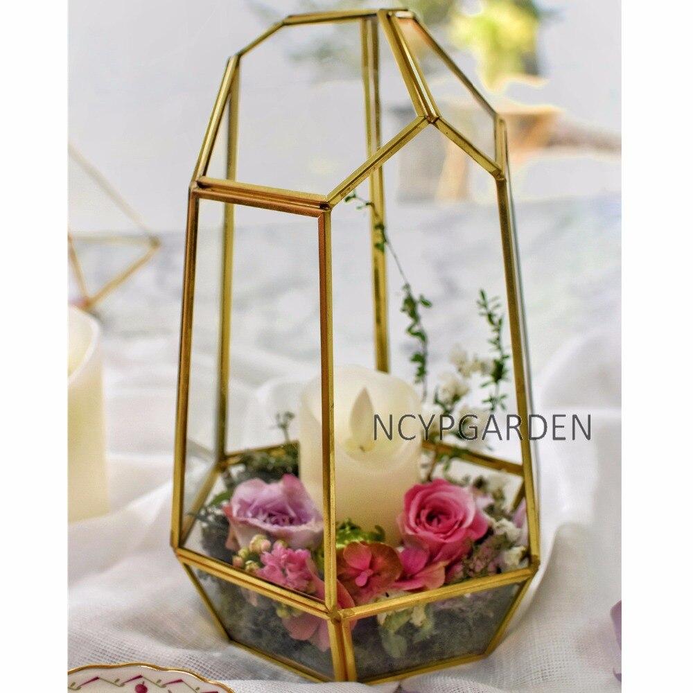 Copper Irregular Glass Geometric Succulent Plants Terrarium Box ...