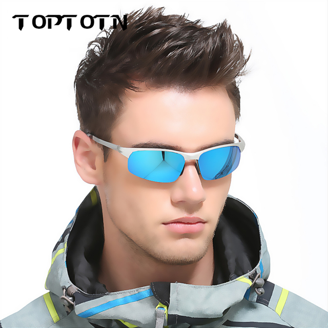 a7ddd594c4cfcd Toptotn heren Bril Gepolariseerde Zonnebril Merk Designer Gepolariseerde  Zonnebril Zomer HD Lens Sport Rijden Mannelijke Eyewear
