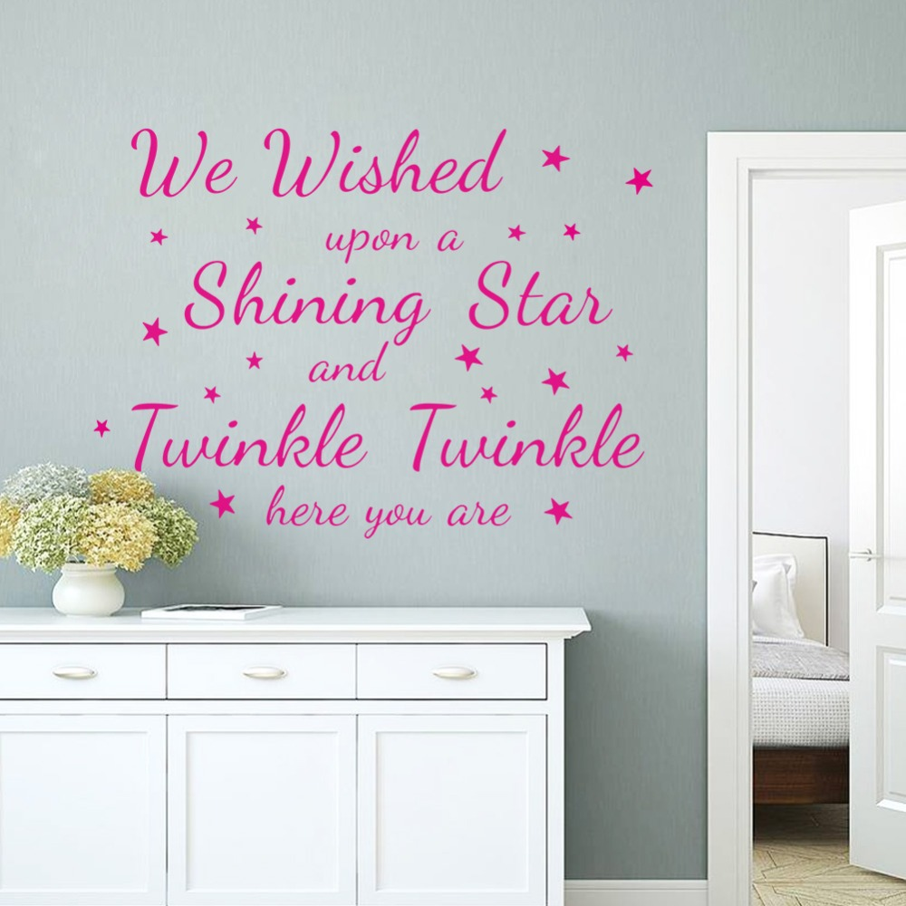 Online Shop Pink Wall Art Quotes Letters Stickers Stars Living Room Vinyl Decor Removable Decorative Decals Mural Kids