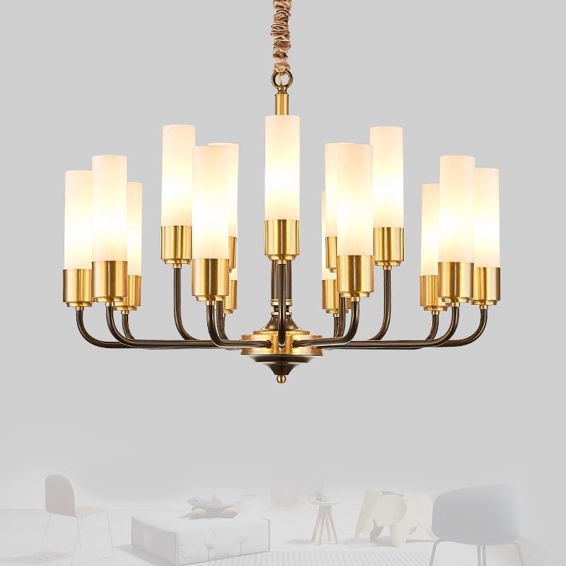 LED luxury Copper chandelier lighting living room pendant lamps American dining room fixtures Nordic bedroom hanging lightsChandeliers   -