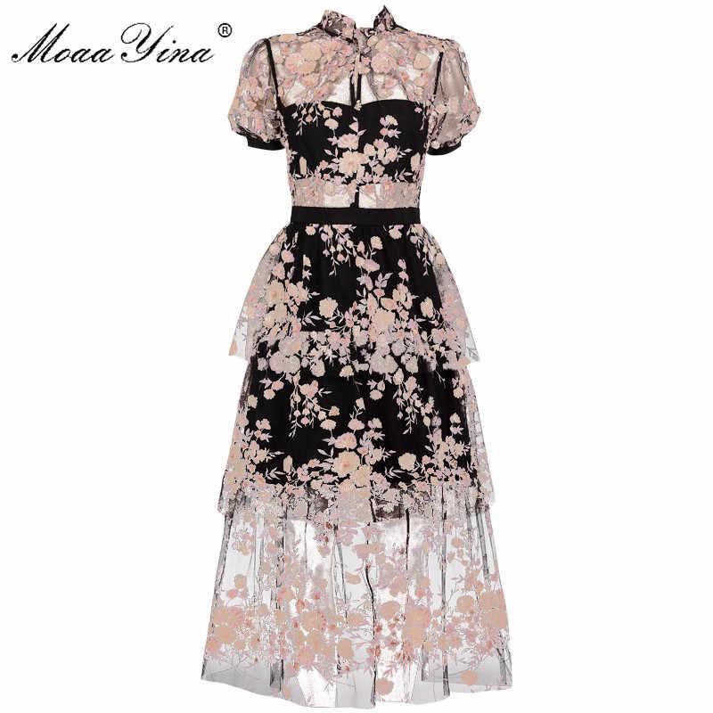 MoaaYina, модное дизайнерское подиумное платье, весенне-летнее женское платье с цветочной вышивкой, черные сетчатые платья