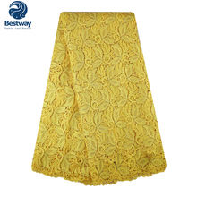 Bestway Guipure Lace Fabric African Cord Lace Fabric High Quality Water Soluble Lace Fabric Cupion Lace For Nigerian Party Dress thin embroidered lace hight quality 4 5in wide water soluble lace white polyester lace fabric for dress 5yards
