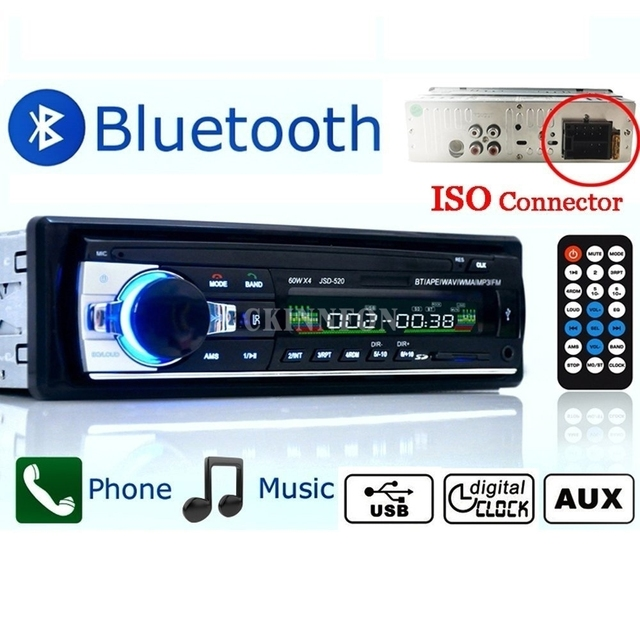50 pcs lot jsd 520 12v bluetooth car stereo fm radio mp3 audio50 pcs lot jsd 520 12v bluetooth car stereo fm radio mp3 audio player 5v charger usb sd aux ape flac subwoofer in dash 1 din
