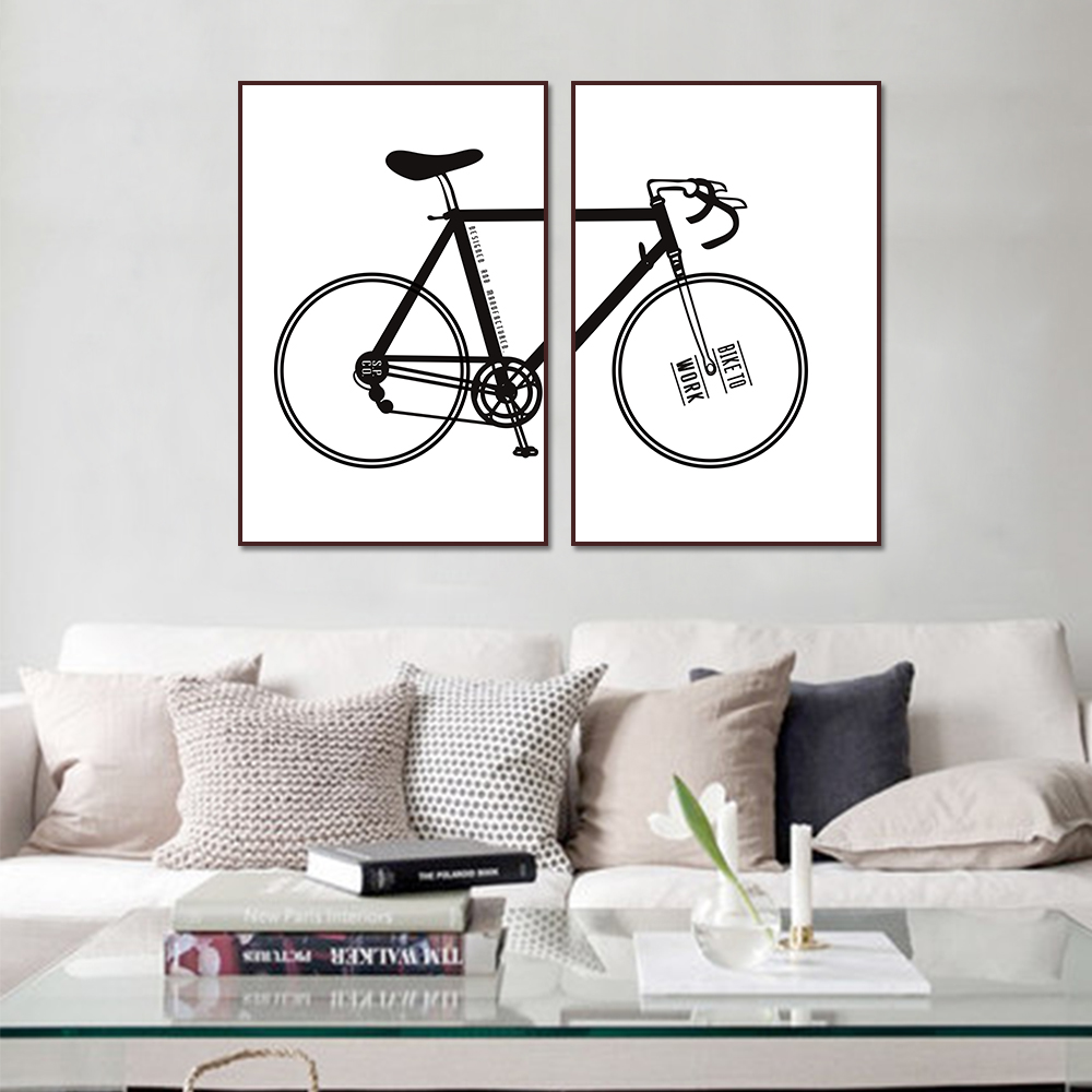 Unframed HD 2 Art Canvas Paintings Simple Art Painting Bicycle Living Room Decorative Painting Unframed Free Shipping