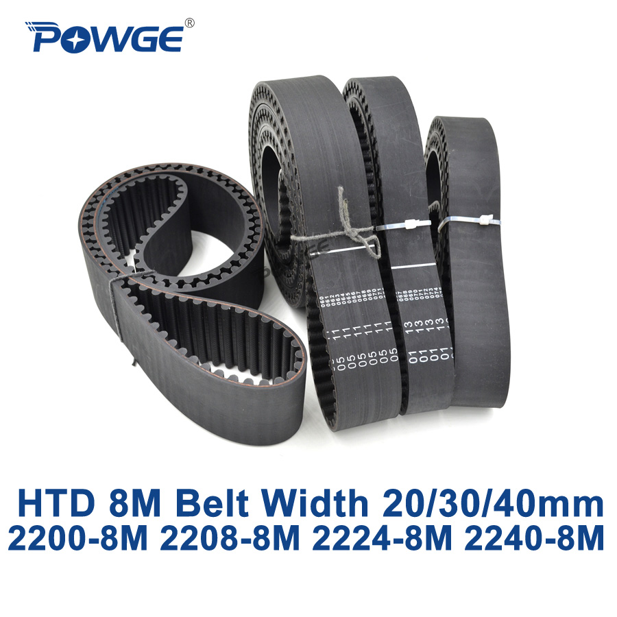 цена POWGE HTD 8M synchronous Timing belt C=2200/2208/2224/2240 width 20/30/40mm Teeth 275 276 278 280 HTD8M 2200-8M 2224-8M 2240-8M