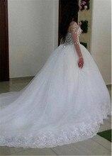 Junoesque Tüll Jewel Ausschnitt Ballkleid Hochzeit Kleid Mit Spitze Appliques & Gefrieste Lange Ärmeln Kristalle Brautkleider