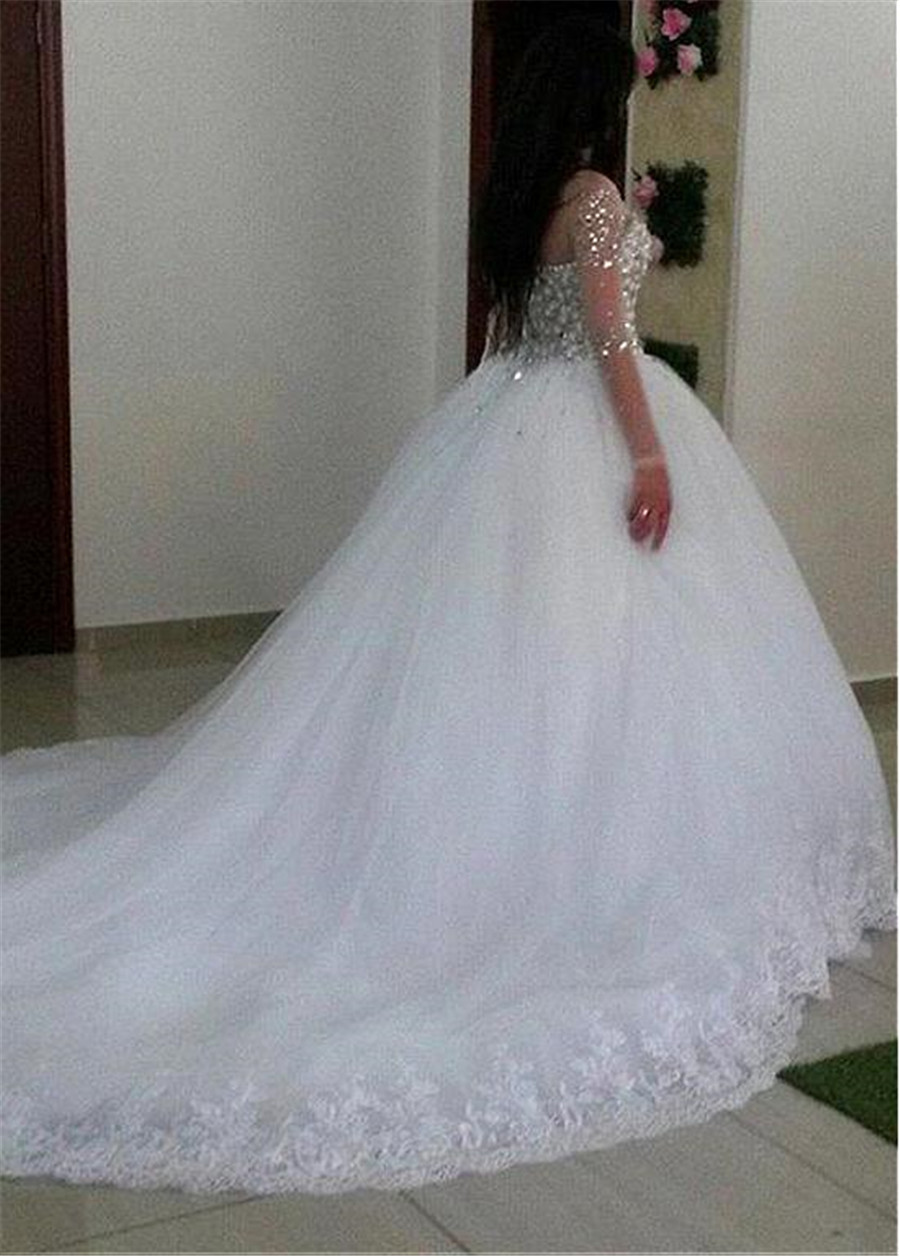 Junoesque Tulle Jewel Neckline Ball Gown Wedding Dress With Lace Appliques & Beadings Long Sleeves Crystals Bridal Gowns
