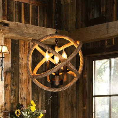 American Country Scandinavian Style Industrial Wind Modern Creative Personality Cafe Decorative Lights 3 Hemp Chandelier