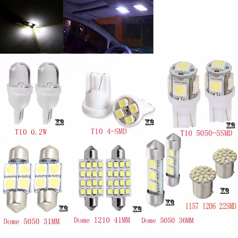 14pcs/lot LED 1157 T10 31 36mm Car Auto Interior Map Dome License Plate Replacement Light Kit White Lamp Set