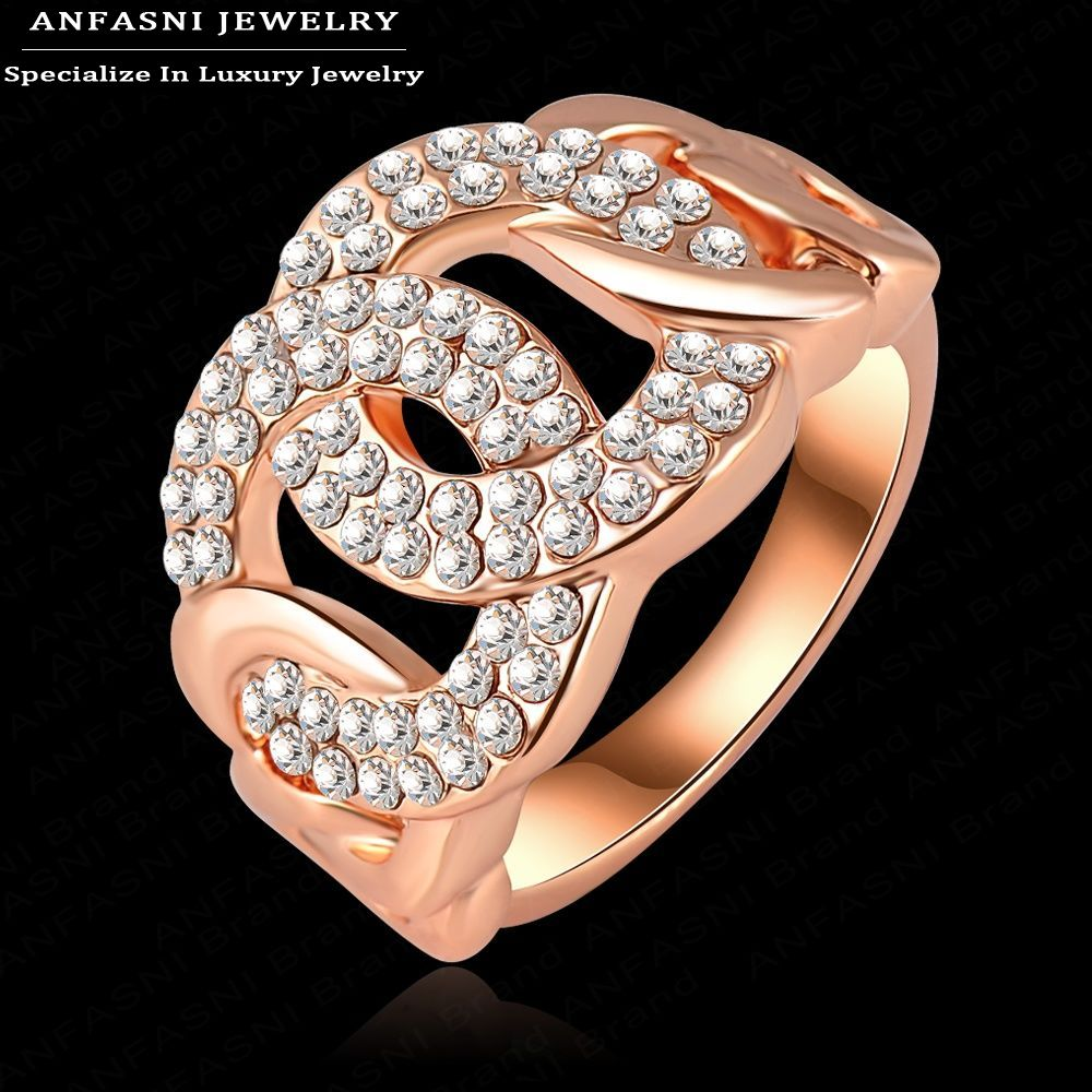 ANFASNI Luxurious Rose Gold Plated Crystal Rings