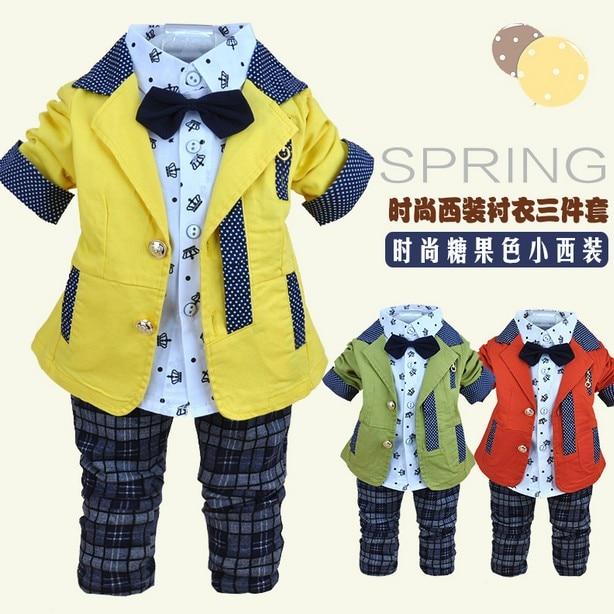 0-3.5Y new 2015 baby boy spring autumn patchwork clothing set 3pcs with tie boys new style clothes sets kids plaid pant suit set