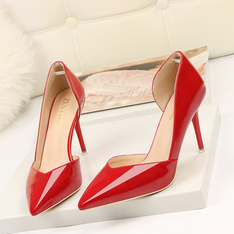 2019 Hot Side Cut Outs High Heels Shoes For Women Pointed