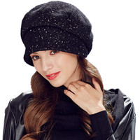 Kenmont Autumn Winter Women Beret Hat Ladies Solid Wool Visor Outdoor Sports Ski Cap Adjustable Black