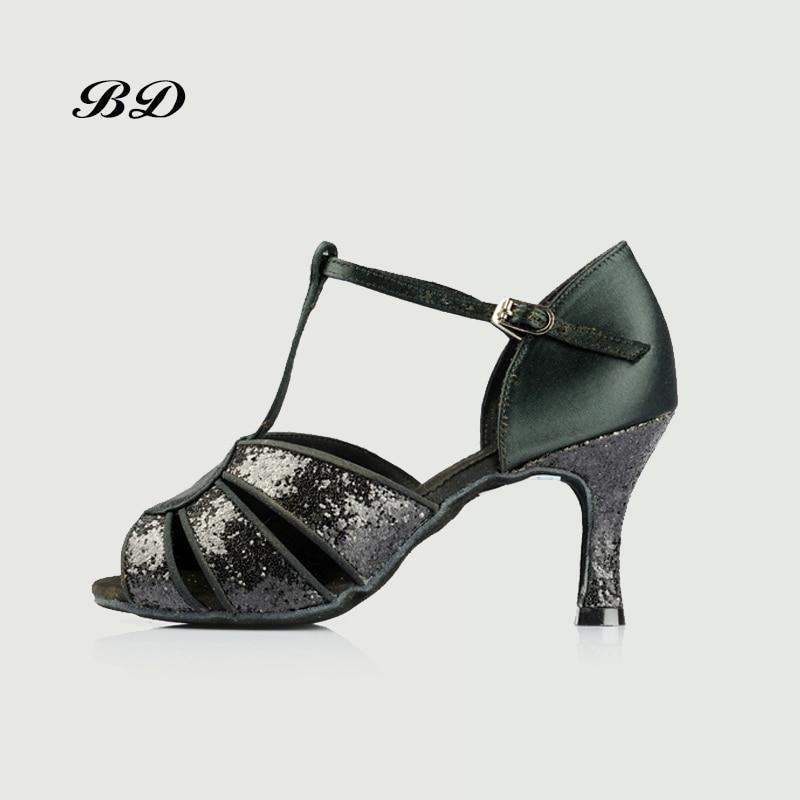 Profession Dance Shoes Ballroom Women Latin Shoes Women Girl Sandals BD 236 Authentic Black Silver Sequins