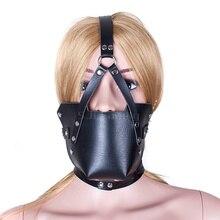 Black Leather Mask Adult Sex Products Juegos Eroticos Para Parejas Head Harness Lockable Adjustable Belt Sex Bondage For Women