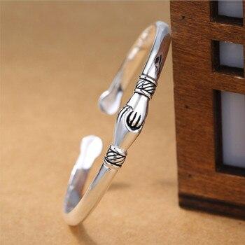 925 Sterling Silver Jewelry Bracelets Opening Handshake  1