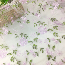 new 1yard 3D Embroidery leaves Flower mesh Tulle Fabric for Wedding Dress Skirts clothes widows gauze